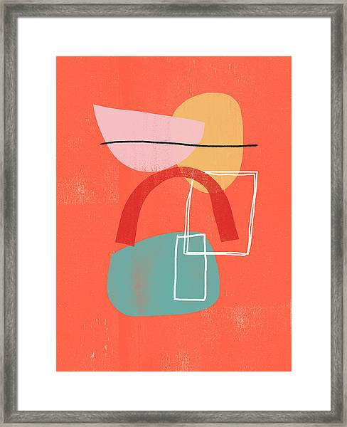 Coral Modern Abstract 2- Art By Linda Woods Framed Print