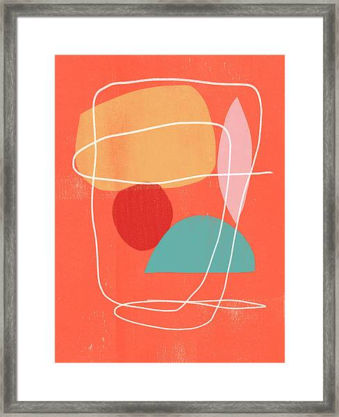 Coral Modern Abstract 3- Art By Linda Woods Framed Print