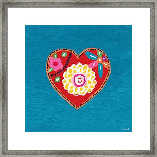 Corazon 3- Art By Linda Woods Framed Print