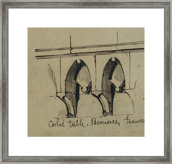 Corbel Table - Benieves, France Framed Print