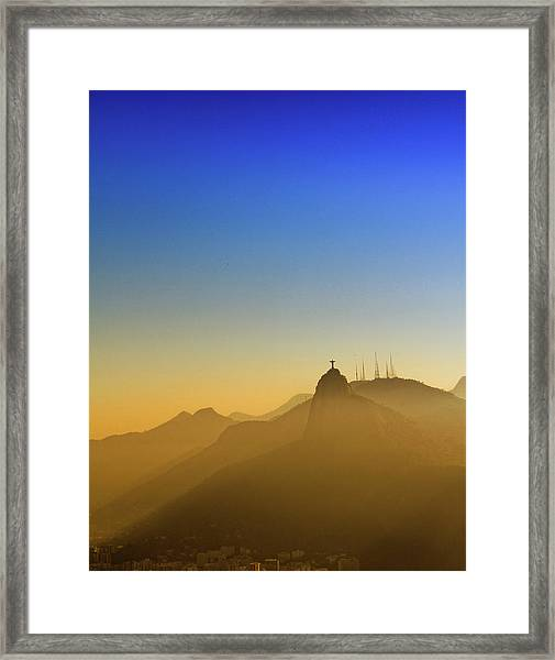 Corcovado Mountain And Christ Redeemer Framed Print by Antonello