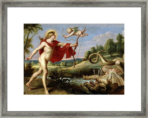 Cornelis De Vos / 'apollo And The Python', 1636-1638, Flemish School, Oil On Canvas. Cupid. Framed Print