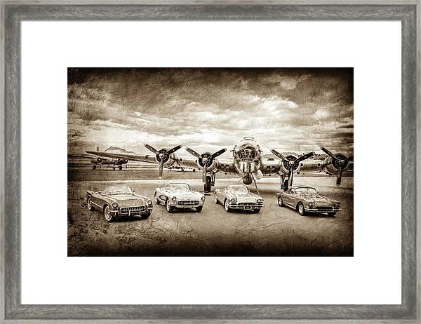 Corvettes And B17 Bomber -0027s Framed Print