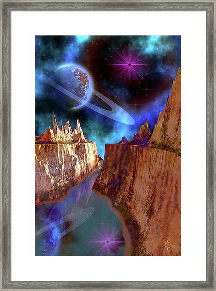 Cosmic Seascape On Another World Framed Print