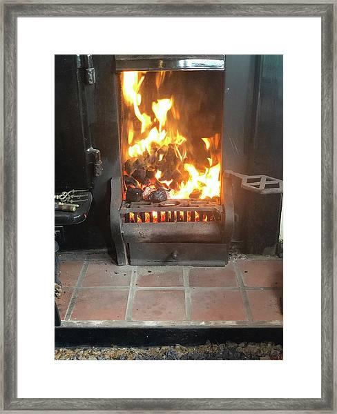 Cosy Winter Fire Framed Print