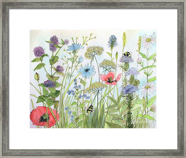 Cottage Flowers And Bees Framed Print