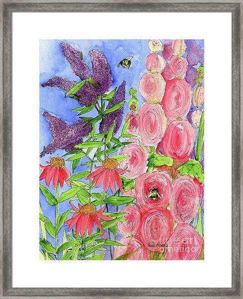 Cottage Garden Hollyhock Bees Blue Skie Framed Print