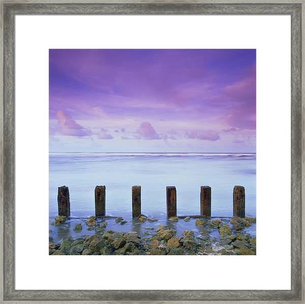 Cotton Candy Skies Over The Sea Framed Print