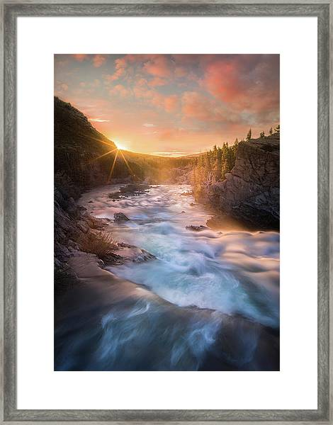 Cotton Candy Sunrise / Swiftcurrent Falls, Glacier National Park  Framed Print