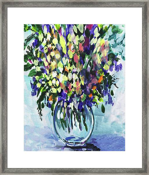 Country Flowers Bouquet Floral Impressionism  Framed Print