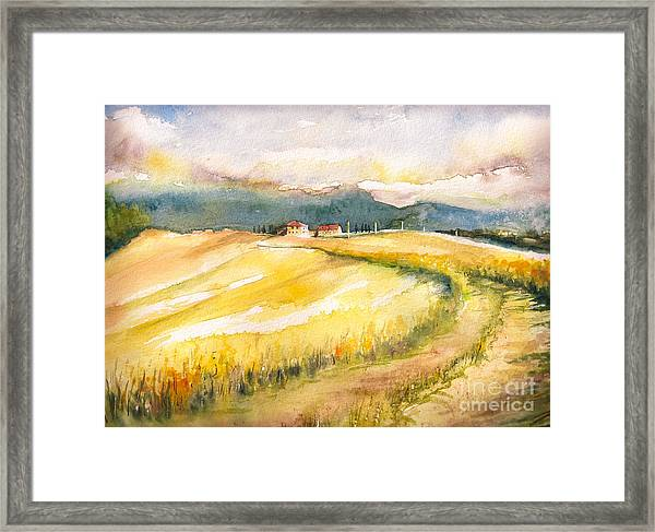 Country Landscape With Typical Tuscan Framed Print