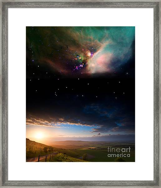 Countryside Sunset Landscape With Framed Print
