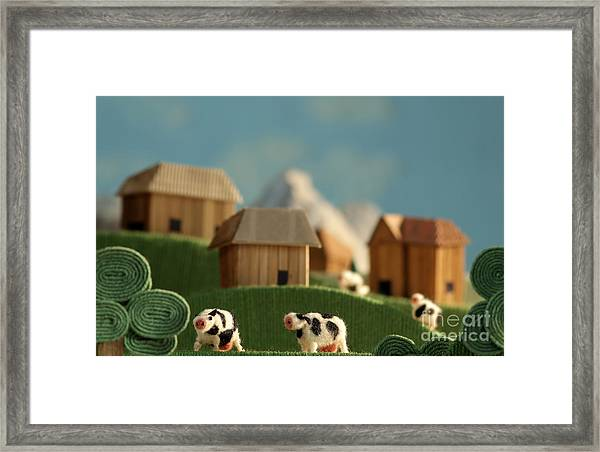 Countryside With Farms, Meadows, Cows Framed Print