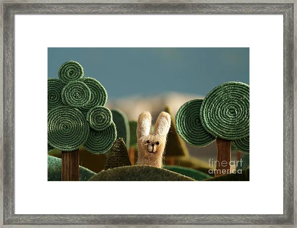 Countryside With Hare - Stylized Nature Framed Print