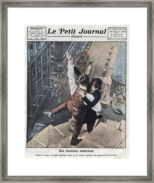 Couple Dancing On The Ledge Of A Framed Print