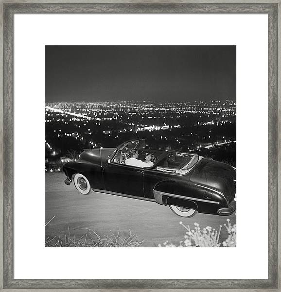 Couple In Convertible On Mulholland Framed Print