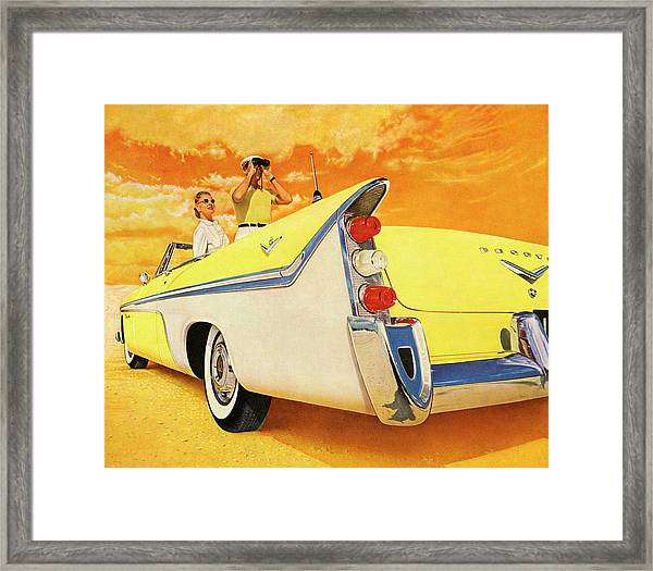 Couple In Yellow Convertible Framed Print by Graphicaartis