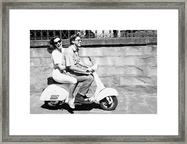 Couple On Motor Scooter B&w Framed Print