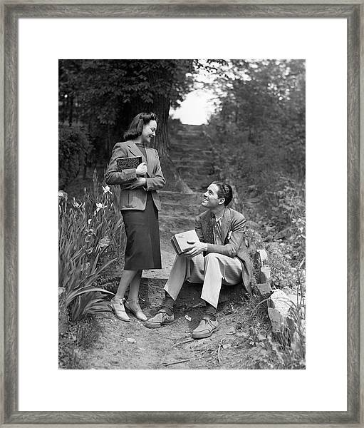 Couple On Path In Woods Framed Print