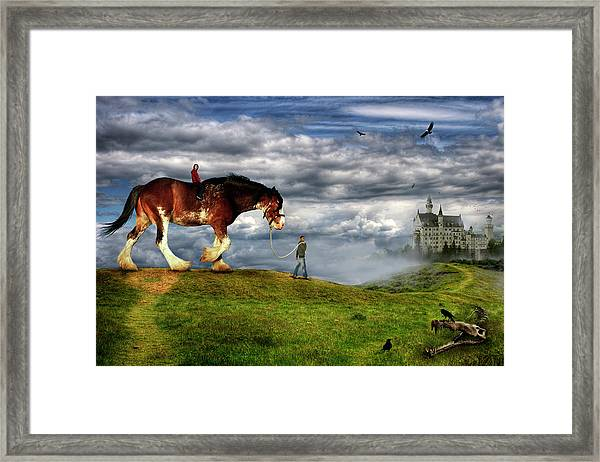 Couple Riding A Horse With A Castle In Framed Print