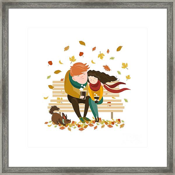 Couple Sitting On Bench And Drink Framed Print