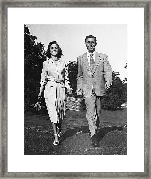Couple W Picnic Basket Framed Print