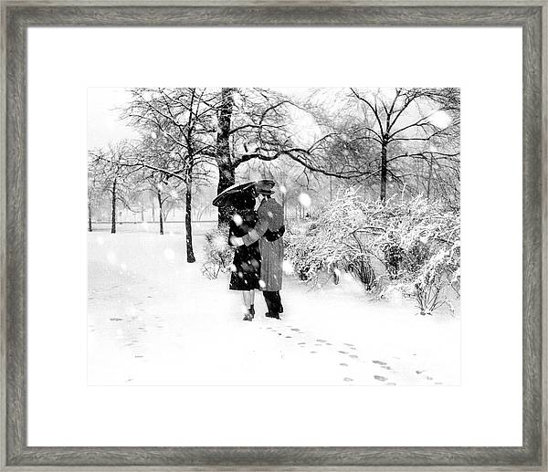 Couple Walking In Central Park Framed Print