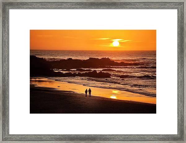 Couple Watch The Sunset At Carmel Beach Framed Print