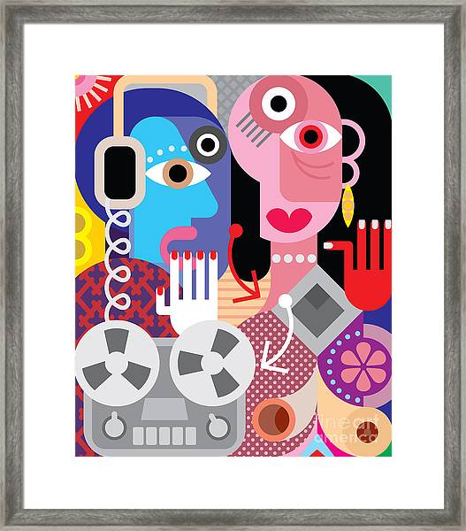 Couple With Retro Recorder - Vector Framed Print