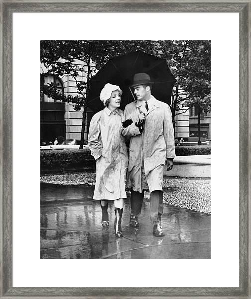 Couple Wumbrella Walking In The Rain Framed Print