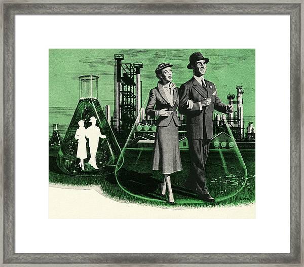 Couples In Chemistry Beakers Framed Print