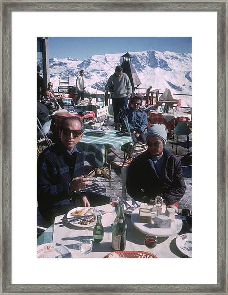 Courchevel Cafe Framed Print by Slim Aarons