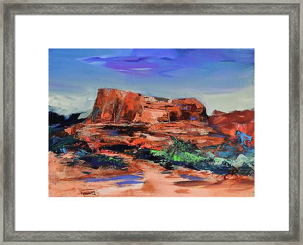 Framed Print featuring the painting Courthouse Butte Rock - Sedona by Elise Palmigiani