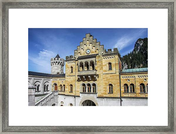 Framed Print featuring the photograph Courtyard, Neuschwanstein Castle by Dawn Richards