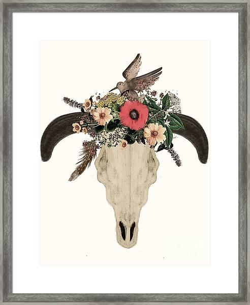 Cow Skull Flowers Framed Print