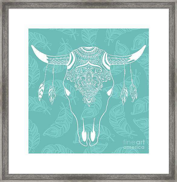 Cow Skull With Feathers Isolated On Framed Print