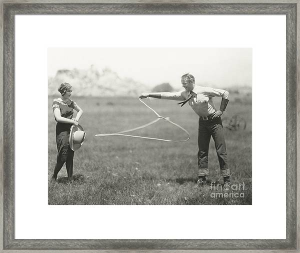 Cowboy Showing Off His Roping Skills Framed Print