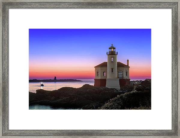 Crab Boat At The Bandon Lighthouse Framed Print