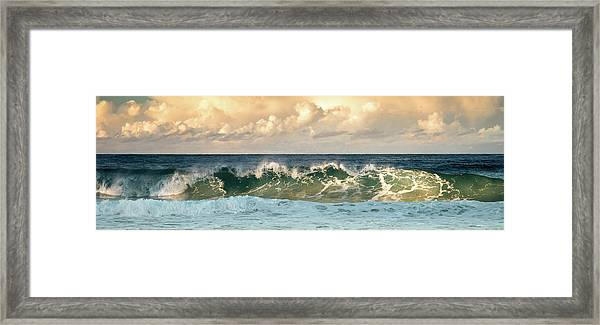 Crashing Waves And Cloudy Sky Framed Print