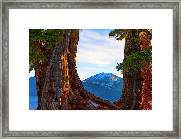 Framed Print featuring the photograph Crater Lake Early Dawn Scenic Views Viii by Dee Browning