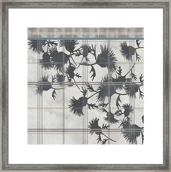 Cream Thistle Plaid Contrast Border Framed Print