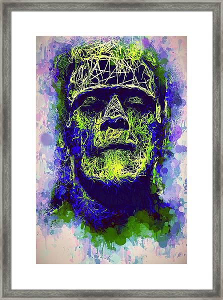 Frankenstein Watercolor Framed Print