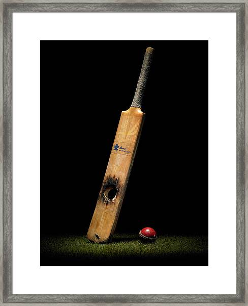 Cricket Bat With Hole And Ball Framed Print