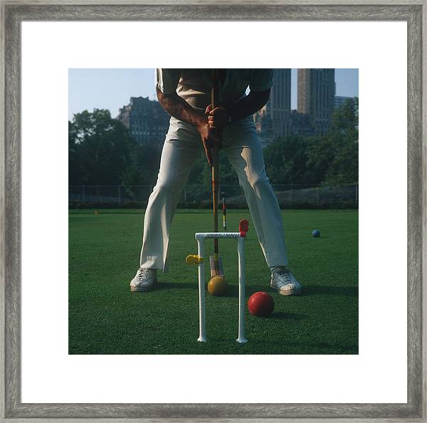 Croquet Player Framed Print by Slim Aarons
