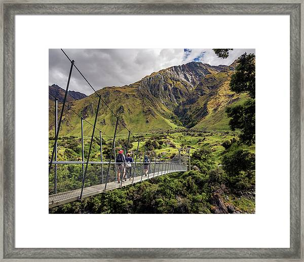 Crossing The River In New Zealand Framed Print