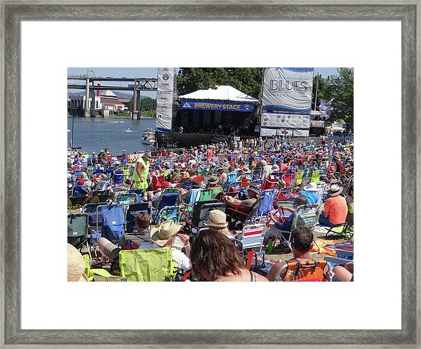 Crowd Enjoys Listening On A Sunny Day  Framed Print