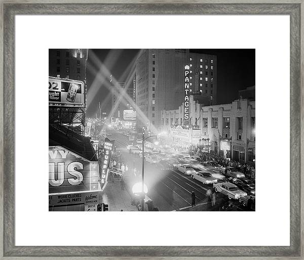 Crowd Outside Of Academy Awards Ceremony Framed Print