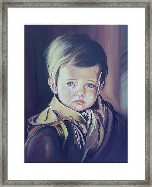 Framed Print featuring the painting Crying Child by Said Marie