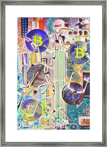 Cryptocurrency Circuitry Framed Print