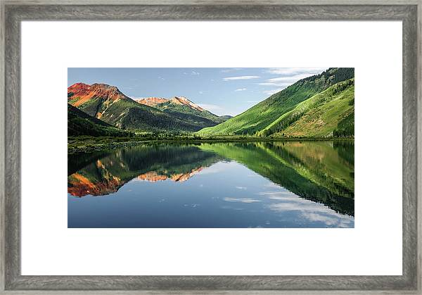 Crystal Lake Red Mountain Reflection Framed Print